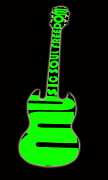 Electric Framed Prints Prints - Guitar in Green Print by Lj Lambert
