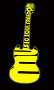 1980 Digital Art Prints - Guitar in Yellow Print by Lj Lambert