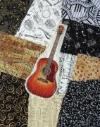 Notes Tapestries - Textiles Posters - Guitar Poster by Loretta Alvarado