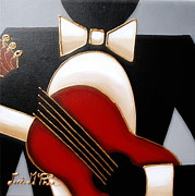 Guitar Strings Painting Originals - Guitar by Lori McPhee