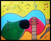 Guitar Art Prints Prints - Guitar Love Print by Manfred Schaefer