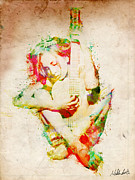 Songs Digital Art Prints - Guitar Lovers Embrace Print by Nikki Marie Smith