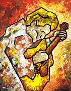 Acoustic Guitar Painting Originals - Guitar on Fire by Kamil Swiatek