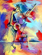 Guitar Strings Painting Originals - Guitar Player In Letters by Artist  Singh