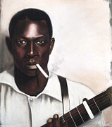 Black Man Pastels - Guitar Player by L Cooper