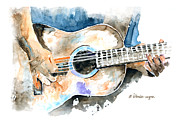 Acoustic Guitar Paintings - Guitar Riffs... by Arline Wagner
