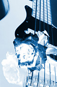 Music Prints - Guitar Rose Blue Tint Print by M K  Miller