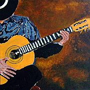 Acoustic Guitar Paintings - Guitar Solo by Richard Roselli