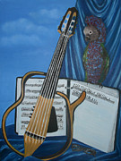 Parrot Print Prints - Guitar Teacher Print by Lali Partsvania