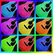 Sound Mixed Media Prints - Guitar Tic Tac Toe Rainbow Print by Andee Photography