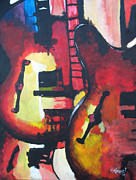 Music Theme Paintings - Guitar Trio by Michael Kypuros