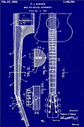Blueprint Photo Prints - Guitar Truss Rod Patent 1923 Print by Bill Cannon