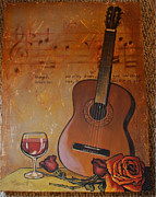 Acoustic Guitar Painting Originals - Guitar Wine and Roses by Martha Bennett