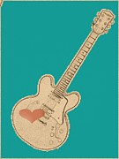 Rock And Roll Digital Art Originals - Guitar With A Heart by Heather Watson