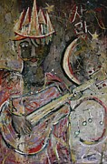 Earthtone Paintings - Guitarist in Crown by Andrew Osta