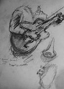 Player Drawings Posters - Guitarist Poster by Jamey Balester