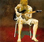 Figurative Metal Prints - Guitarman... Metal Print by Will Bullas