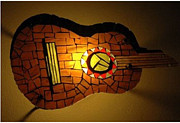 Wall Glass Art - Guitarra by Sonia Ruiz