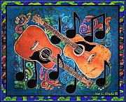 Folk Tapestries - Textiles Posters - Guitars - Bordered Poster by Sue Duda