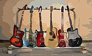 Electric Guitar Posters - Guitars On A Rack Poster by Arline Wagner