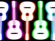 Blurred Prints - Guitars on Fire 5 Print by Andy Smy