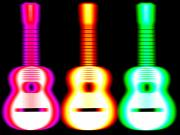 Acoustic Guitar Digital Art Posters - Guitars on Fire Poster by Andy Smy