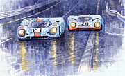 Watercolour Painting Metal Prints - Gulf-Porsche 917 K Spa Francorchamps 1970 Metal Print by Yuriy  Shevchuk