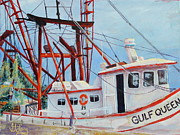 Docked Boat Painting Posters - Gulf Queen Too Poster by Gisele Long
