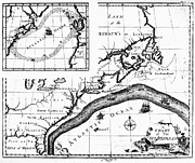 Benjamin Franklin Posters - Gulf Stream: Map, 1786 Poster by Granger