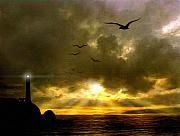 Sunset Seascape Digital Art Prints - Gull Flight Print by Robert Foster