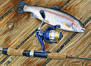 Trout Paintings - Gull Lake Dock by Mark Jennings