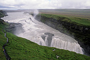 Rivers In The Fall Photo Prints - Gullfoss a powerful waterfall in the canyon of the Hvita river Print by Sami Sarkis