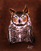 Great-horned Owls Paintings - Gullie by Adele Moscaritolo