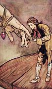 Stories Painting Prints - Gulliver in Brobdingnag Kissing the Hand of the Queen Print by Arthur Rackham
