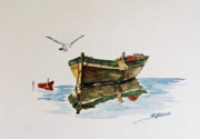 Water Scenes Prints - Gulls Skiff Print by Raymond Edmonds