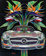 Mercedes Paintings - Gullwing Birds of Paradise by Mike Hill