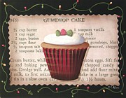 Primitive Painting Framed Prints - Gumdrop Cupcake Framed Print by Catherine Holman