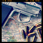 Threatening Prints - Gun and Bullets on Map Print by Jill Battaglia