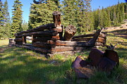 Log Cabins Art - Gunnison Mining History by Cynthia Cox Cottam