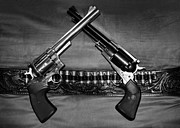 Leather Belt Framed Prints - Guns in Black and White Framed Print by Kristin Elmquist
