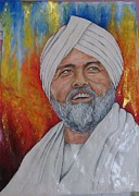 Smiling Mixed Media - Guru Hardev Singh Ji by Rohit Kumar