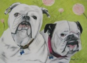 Dog Print Pastels Framed Prints - Gus and Olive Framed Print by Michelle Hayden-Marsan