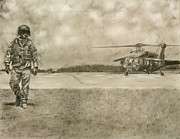 Helicopter Drawings - Gus by Jennifer Delamar-Goss
