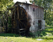 Sluice Prints - Gushing Mill Wheel Print by Douglas Barnett