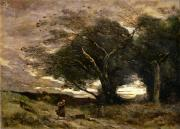 Lone Tree Painting Prints - Gust of Wind Print by Jean Baptiste Camille Corot