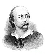 French School; (19th Century) Metal Prints - Gustave Flaubert, French Author Metal Print by Photo Researchers