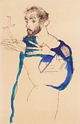 Schiele Drawings - Gustave Klimt In Artist Smock by Pg Reproductions