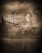 Pirate Ship Prints - Gutless - Anarchy at Sea Print by Liezel Rubin