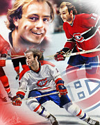 Montreal Canadiens Framed Prints - Guy Lafleur Collage Framed Print by Mike Oulton