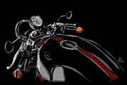 Exhaust Drawings Metal Prints - Guzzi Metal Print by Jeremy Lacy